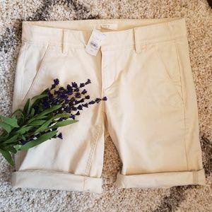 "10"" Tan Bermuda Roll Shorts"